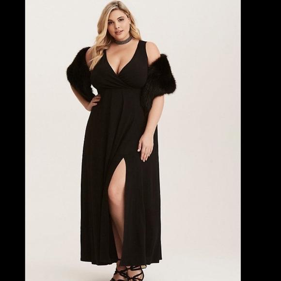 edc1f94e10dbf Torrid Black Gown with Slit